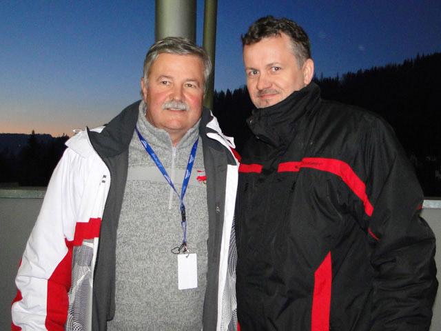 Imprezator i trener polskich skoczków Apoloniusz Tajner na imprezie sportowej